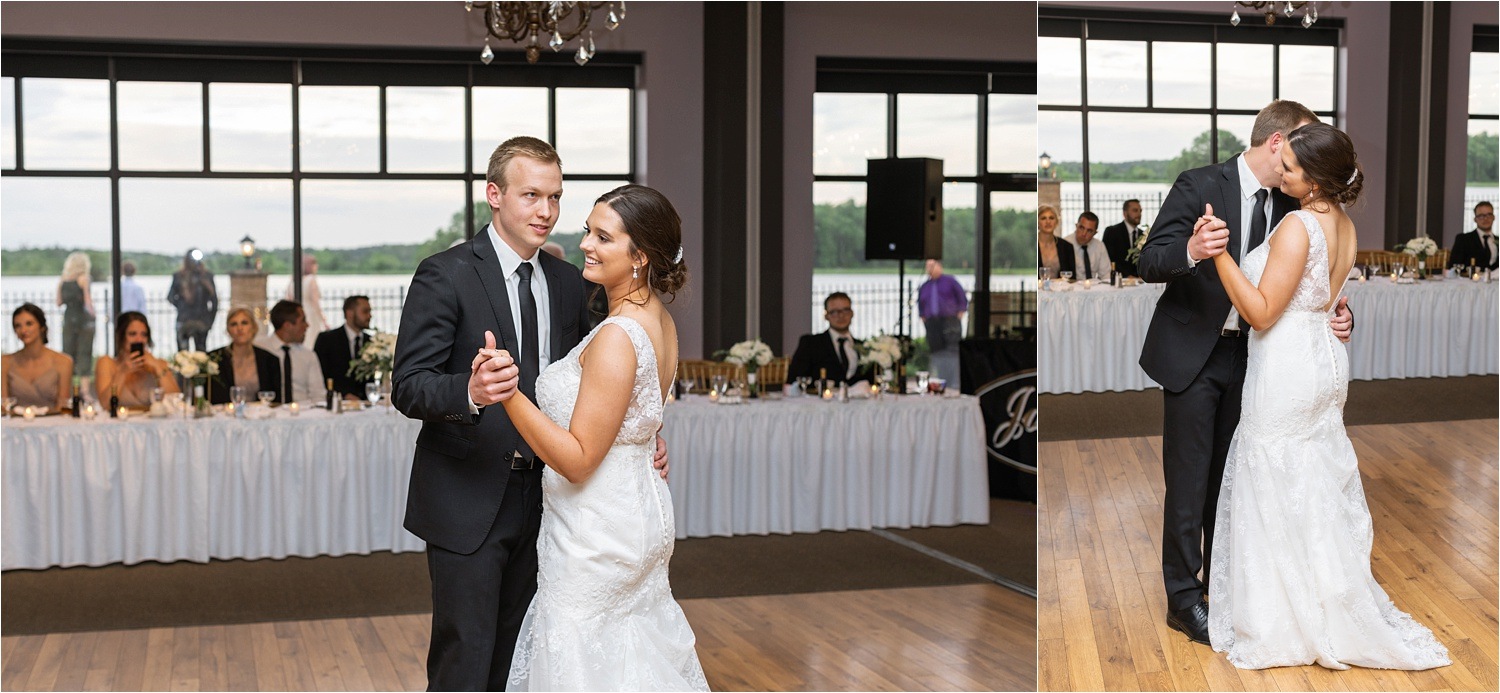 bride and groom dance at avion on the water in canfield ohio