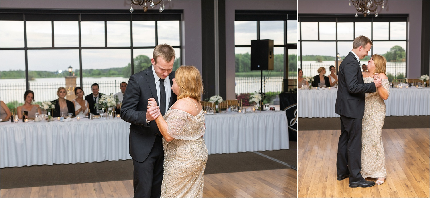 groom and his mother dance at youngstown wedding at avion on the water