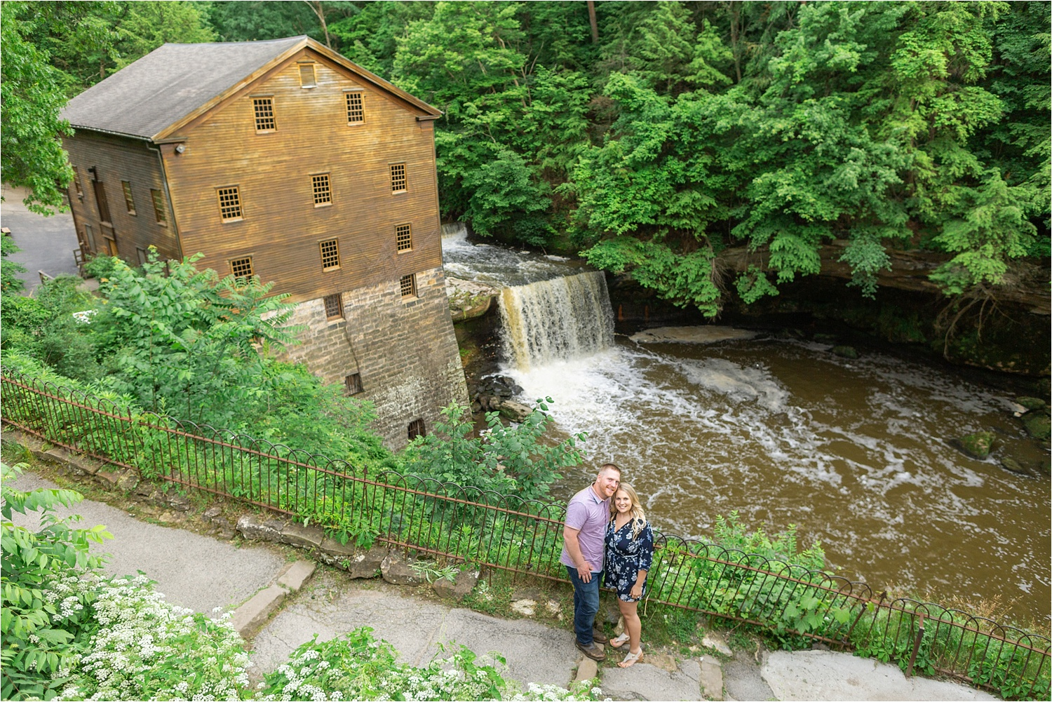 engagement photos at lantermans mill in youngstown ohio