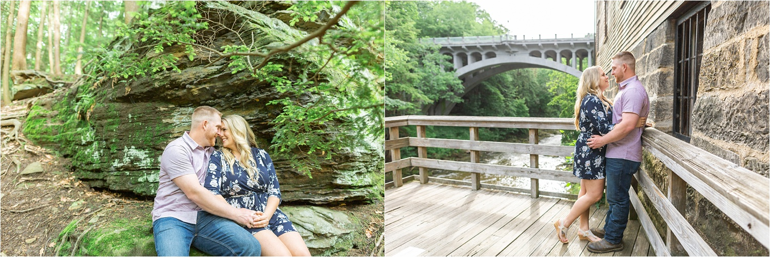 youngstown ohio engagement photos at lanterman's mill in mill creek park