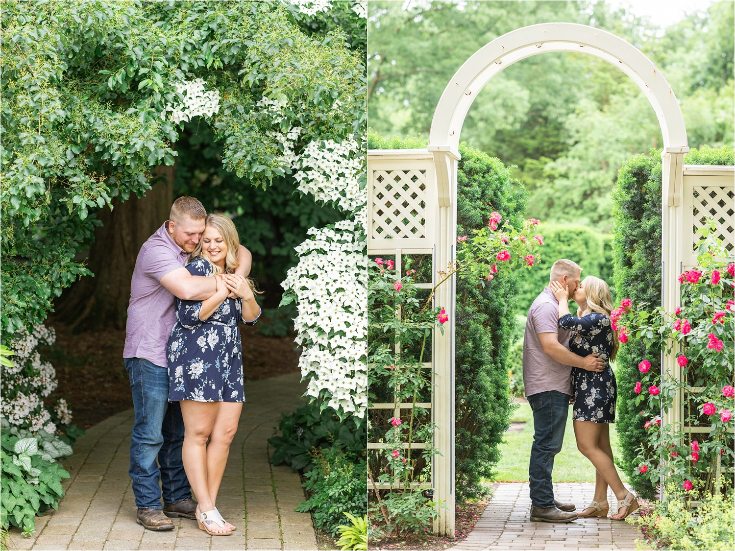 summer engagement session at fellows riverside gardens in youngstown ohio