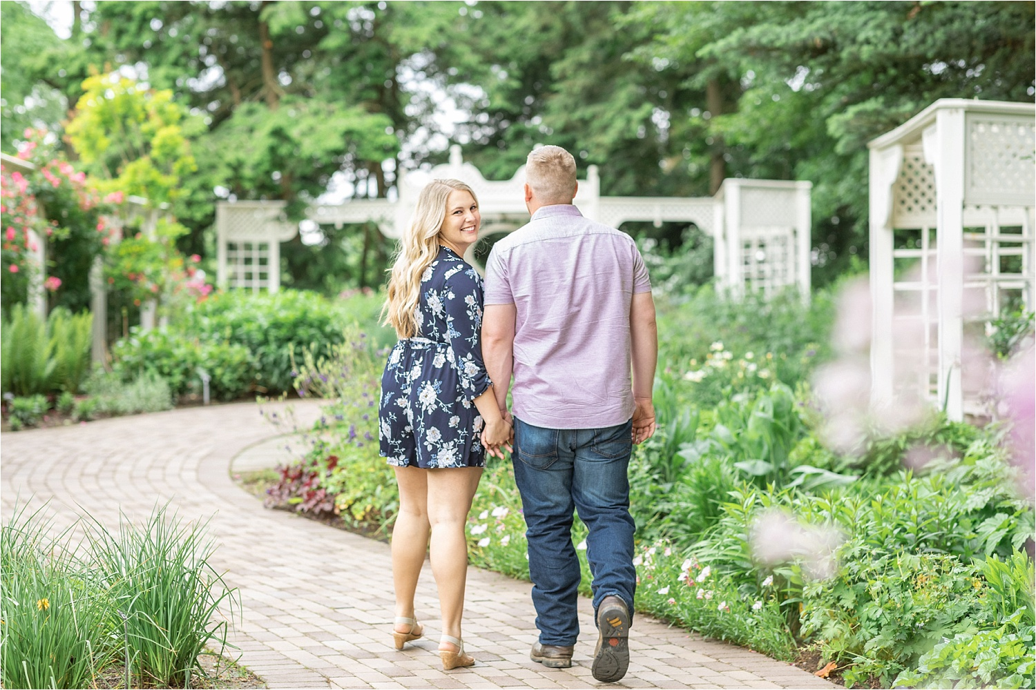 summer engagement photos at fellows riverside gardens in youngstown ohio