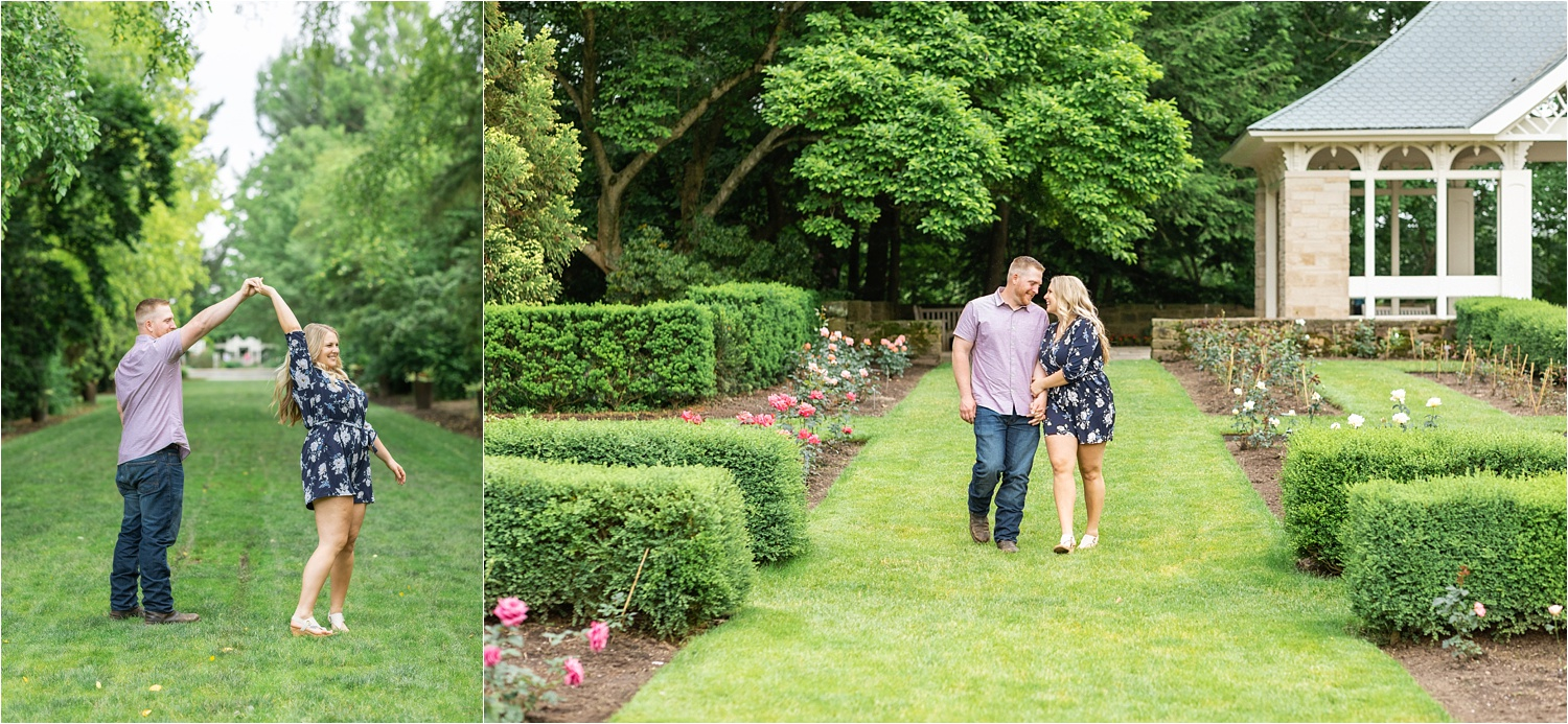 cute june engagement photos at fellows riverside gardens in youngstown ohio