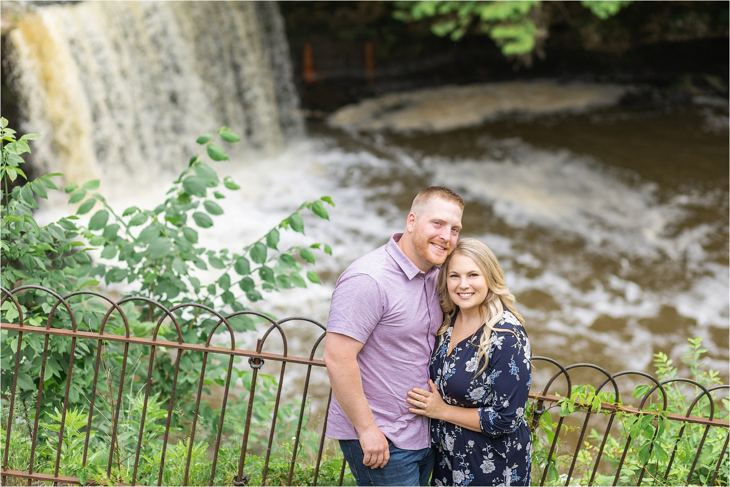 engagement photos at lanterman's mill waterfall at mill creek park in youngstown ohio