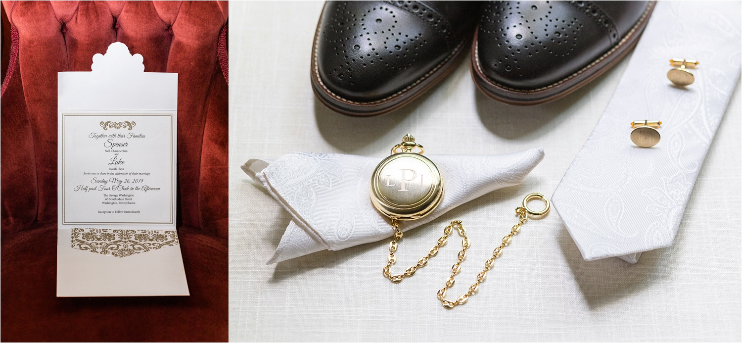 stylish groom details of pocket watch, tie, shoes, and cufflinks