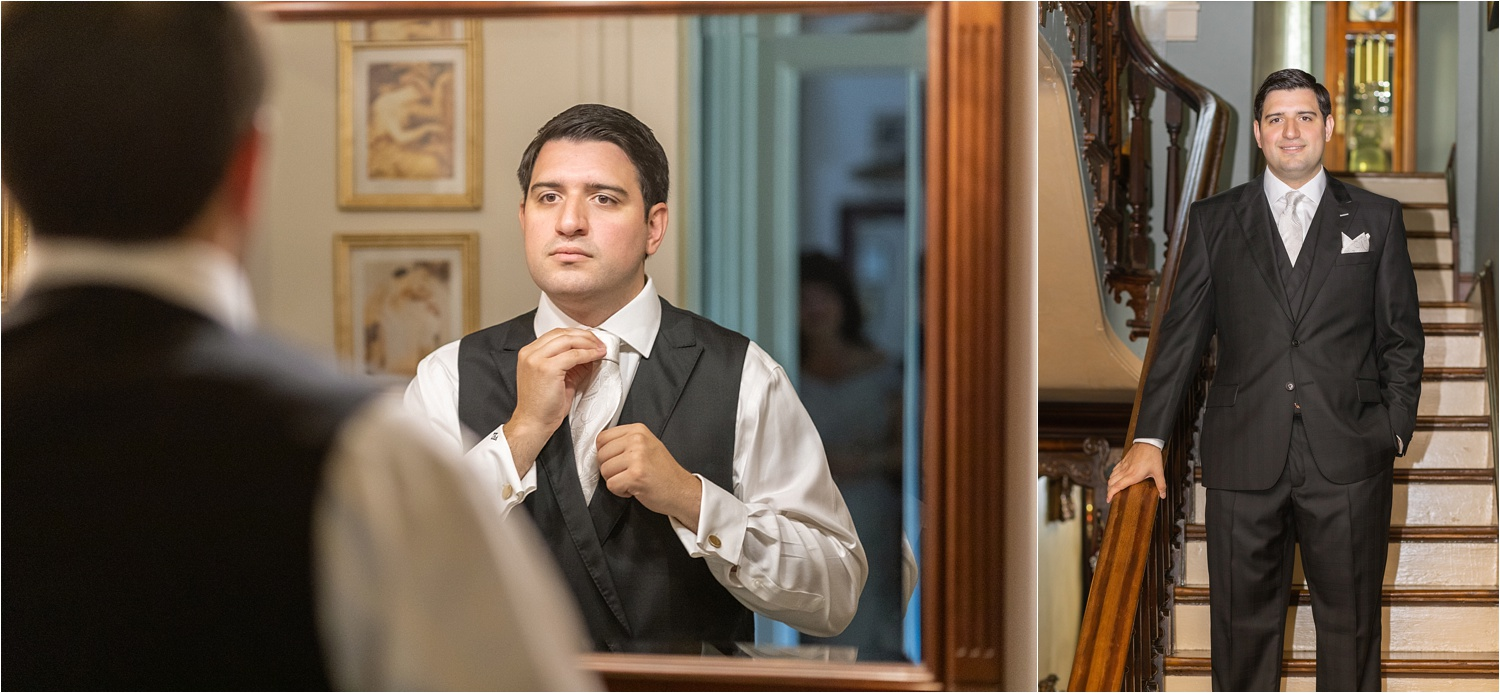 groom getting ready for pittsburgh wedding