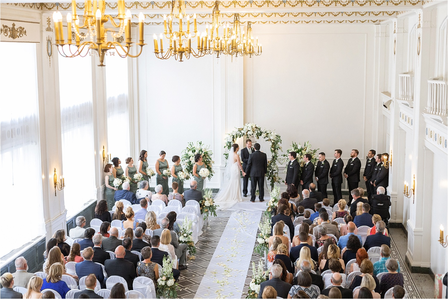 gorgeous bright and airy wedding ceremony at the george washington hotel in washington pa
