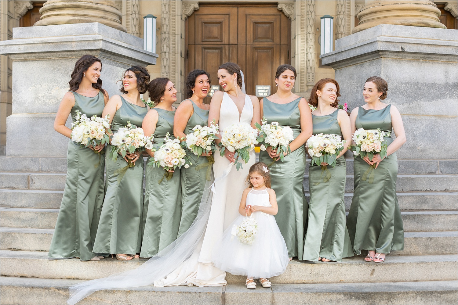 bride with bridesmaids wedding photo at the george washington hotel in washington pa