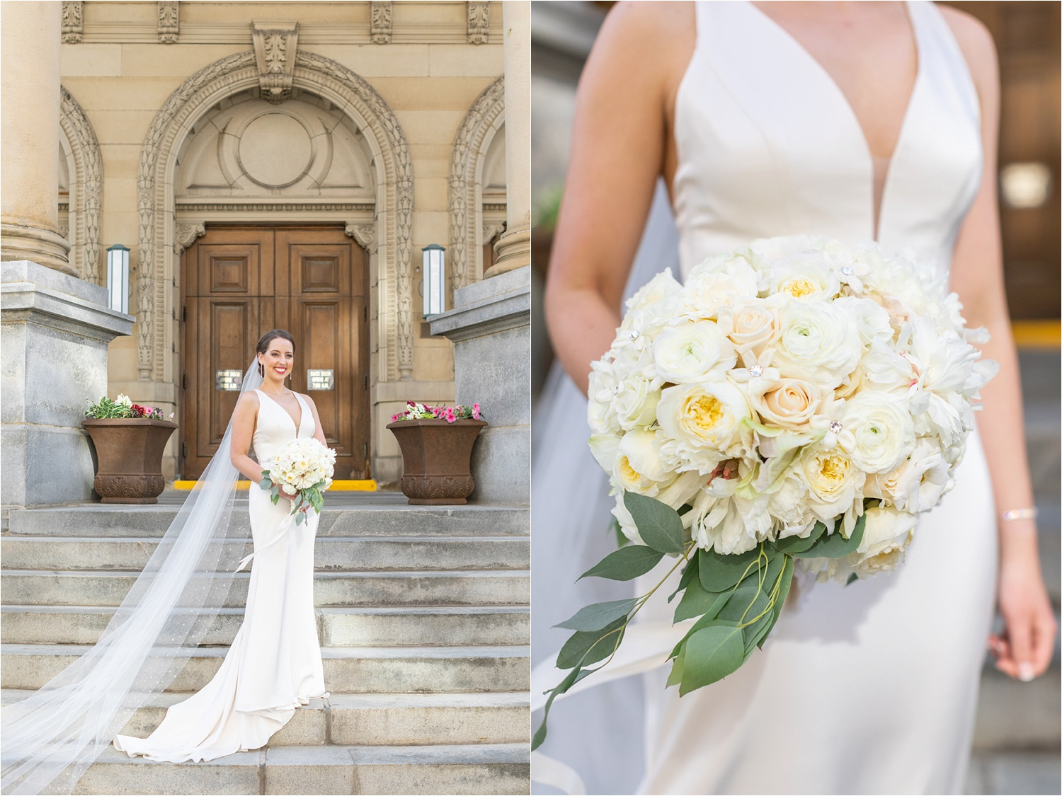 bride portraits and bouquet at the george washington hotel in washington pa