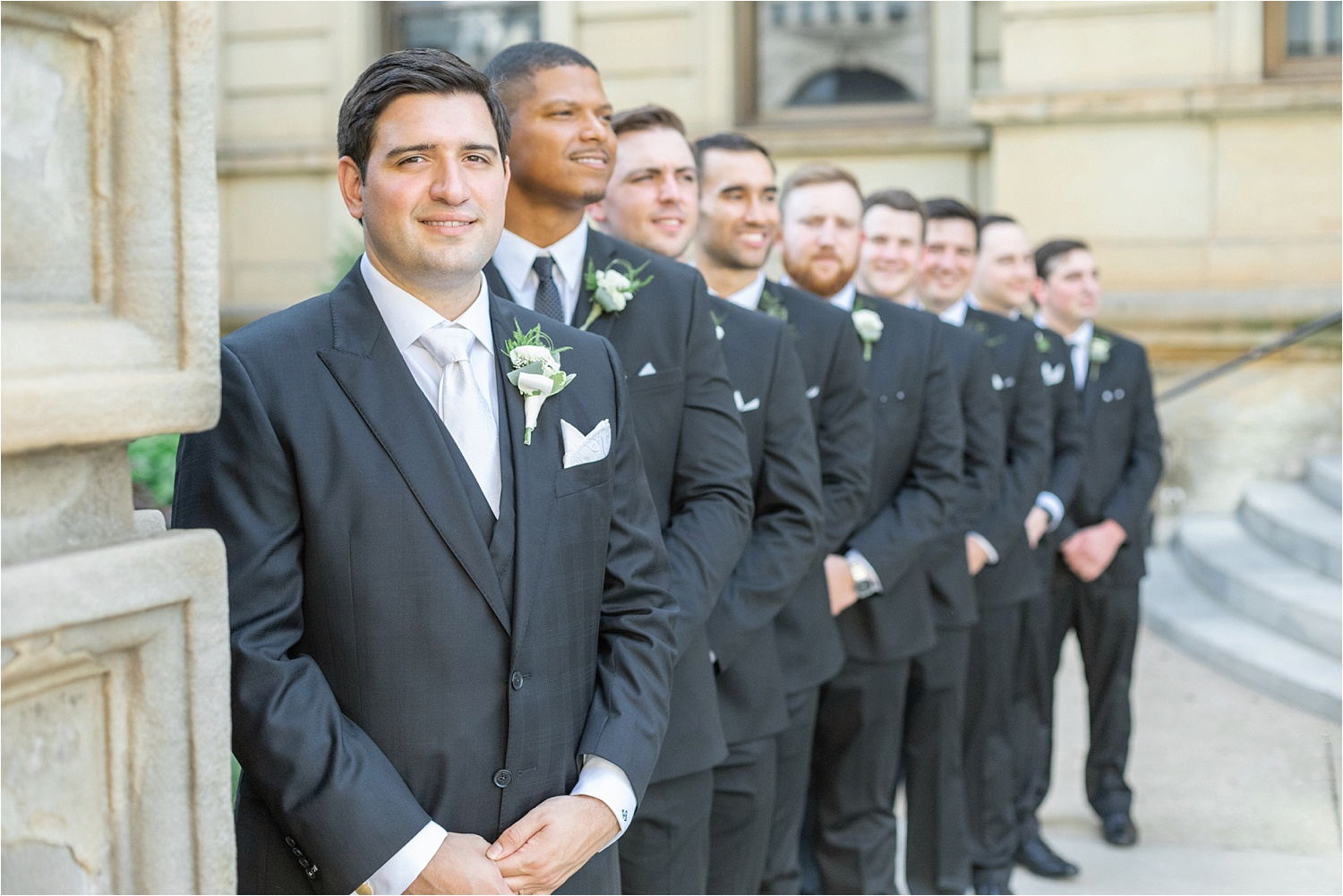 groom with his groomsmen at the george washington hotel in washington pa