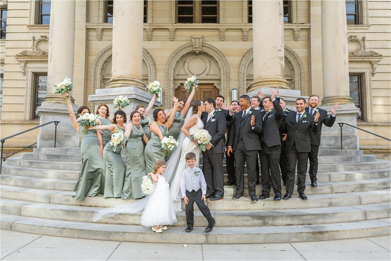 bridal party celebration photo at the george washington hotel in washington pa