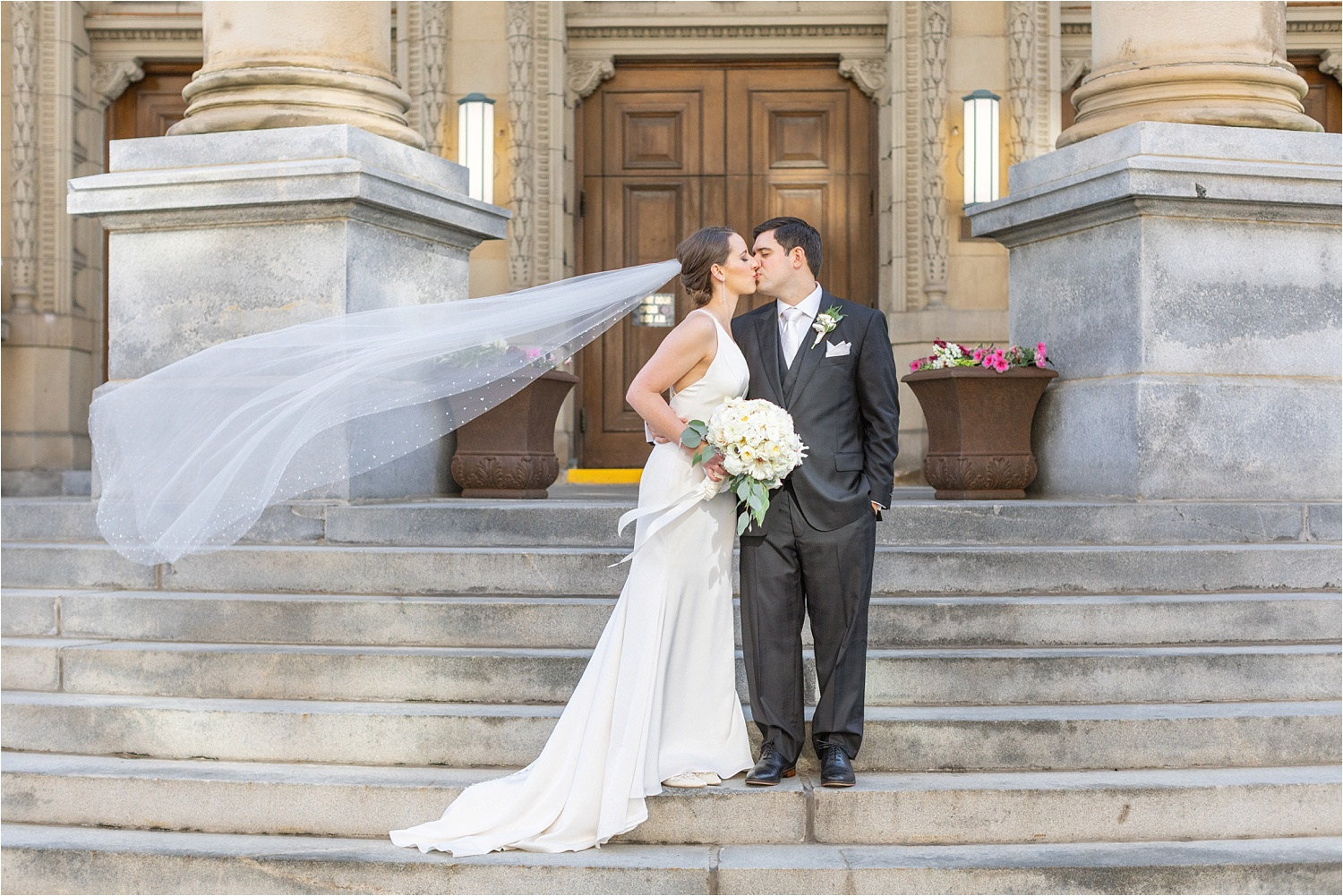 bridal photo of bride and groom at the george washington hotel in washington pa