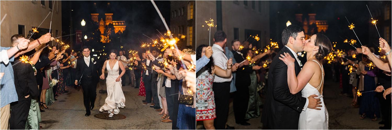 sparkler exit after an elegant wedding at the george washington hotel