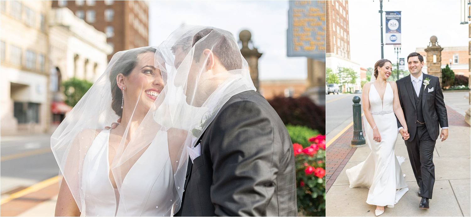 light and airy bride and groom wedding photos at the george washington hotel in washington pa