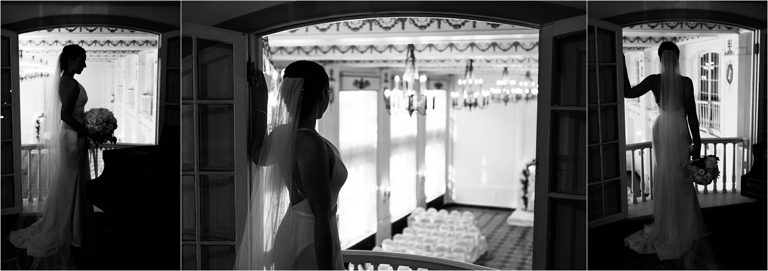 gorgeous black and white silhouettes of bride on her wedding day at the george washington hotel in washington pa
