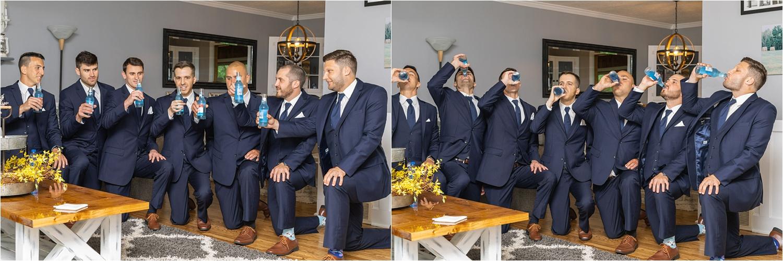 groomsmen cheer before youngstown wedding