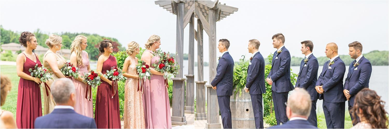 bridesmaids and groomsmen at the vineyards at pine lakes wedding