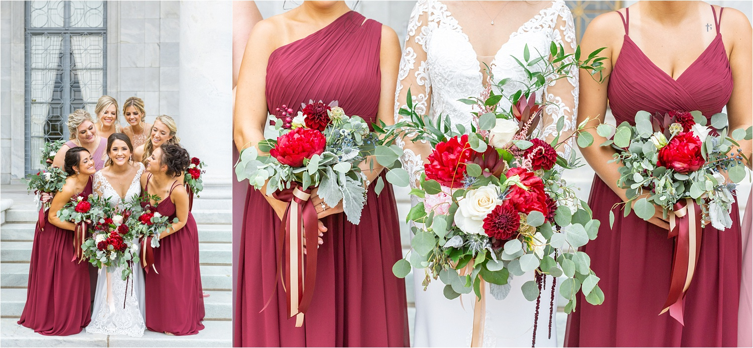 Absolutely love Willows by Wehr's gorgeous blooms! They're especially stunning with these complimentary bridesmaids dresses by Azazie!