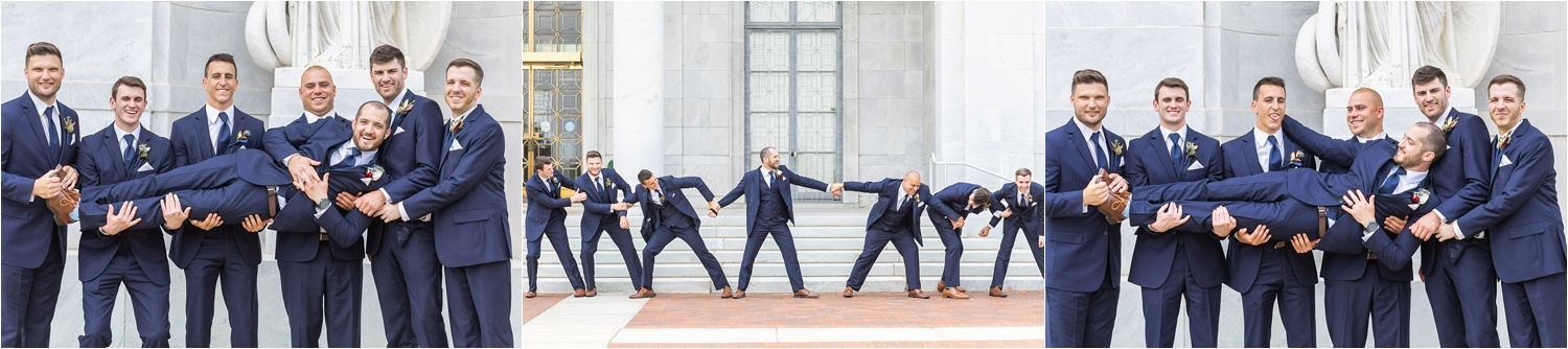 funny wedding photos of groomsmen at the butler institute of american art in youngstown ohio