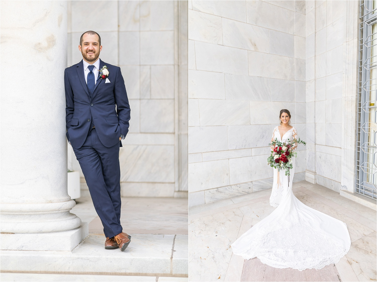 bride and groom wedding photos at the butler institute of american art in youngstown ohio