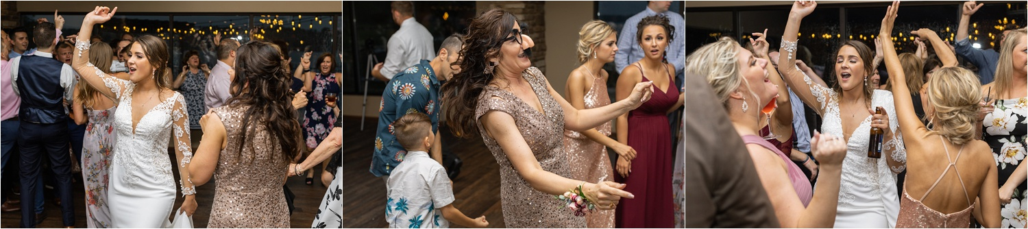 funny reception photos in summer 2019 wedding at the vineyards at pine lake