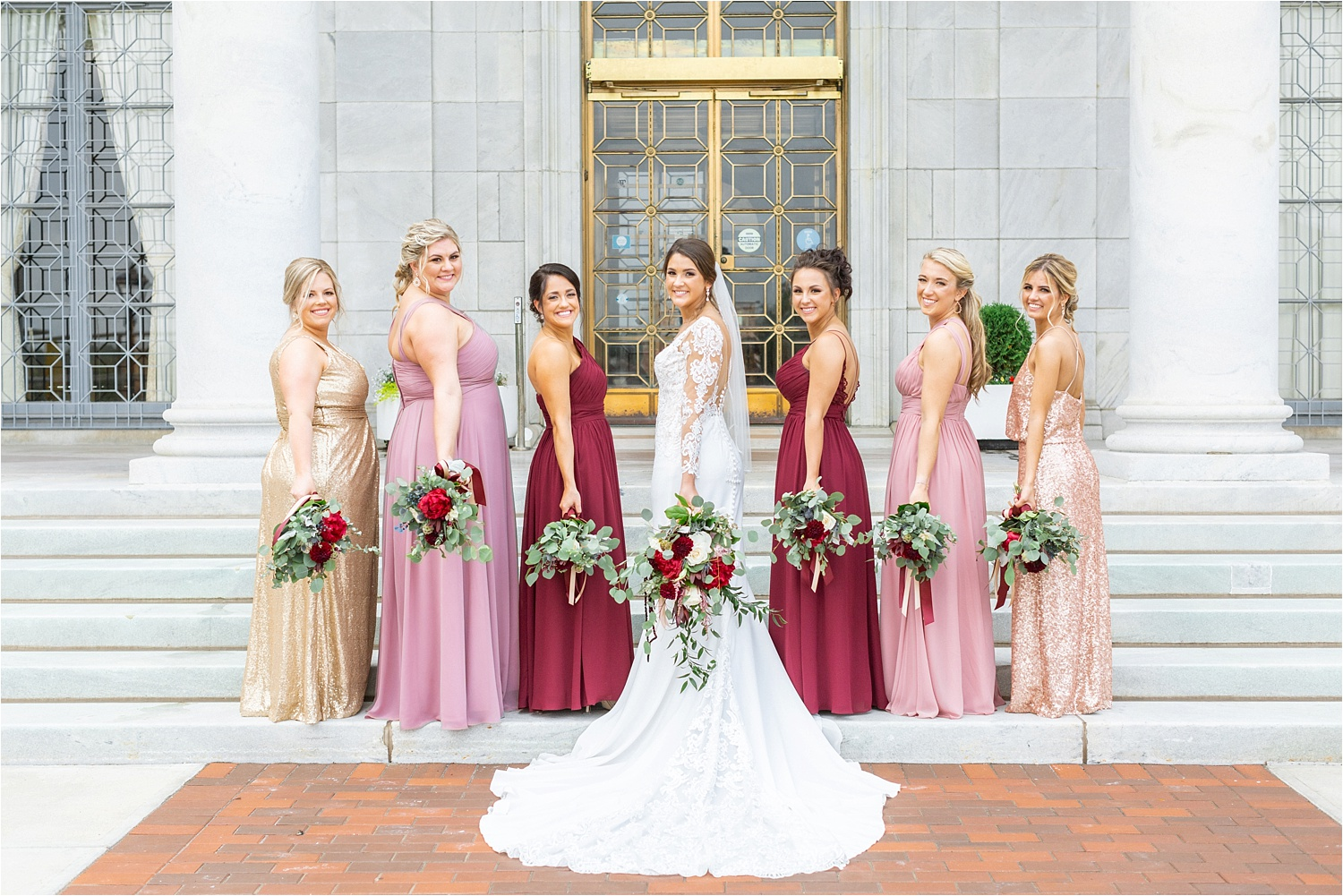 gorgeous light, bright and airy bridesmaids photos at the butler institute of american art