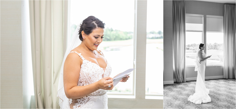 bride reading love note at signature of solon wedding