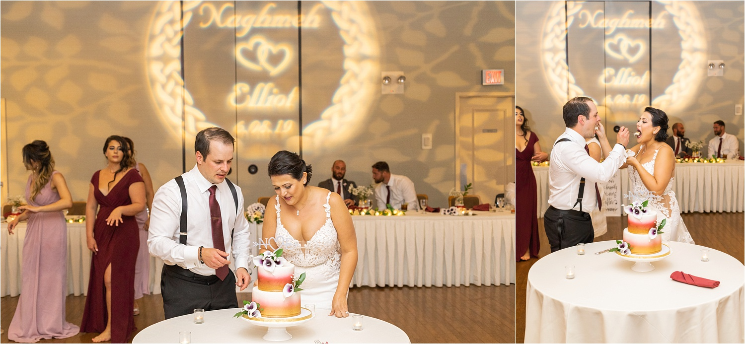 cake cutting for persian american wedding at signature of solon