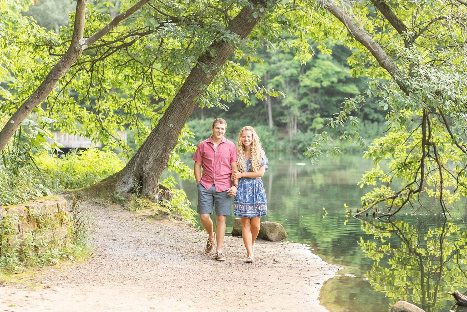 fine art light and airy engagement photos at lily pond in july 2019