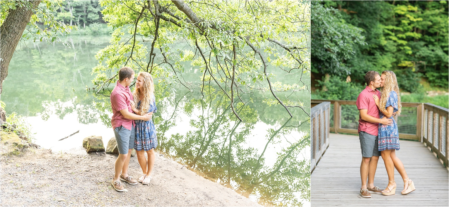 fine art bright & airy engagement photos at lily pond, mill creek park in july 2019