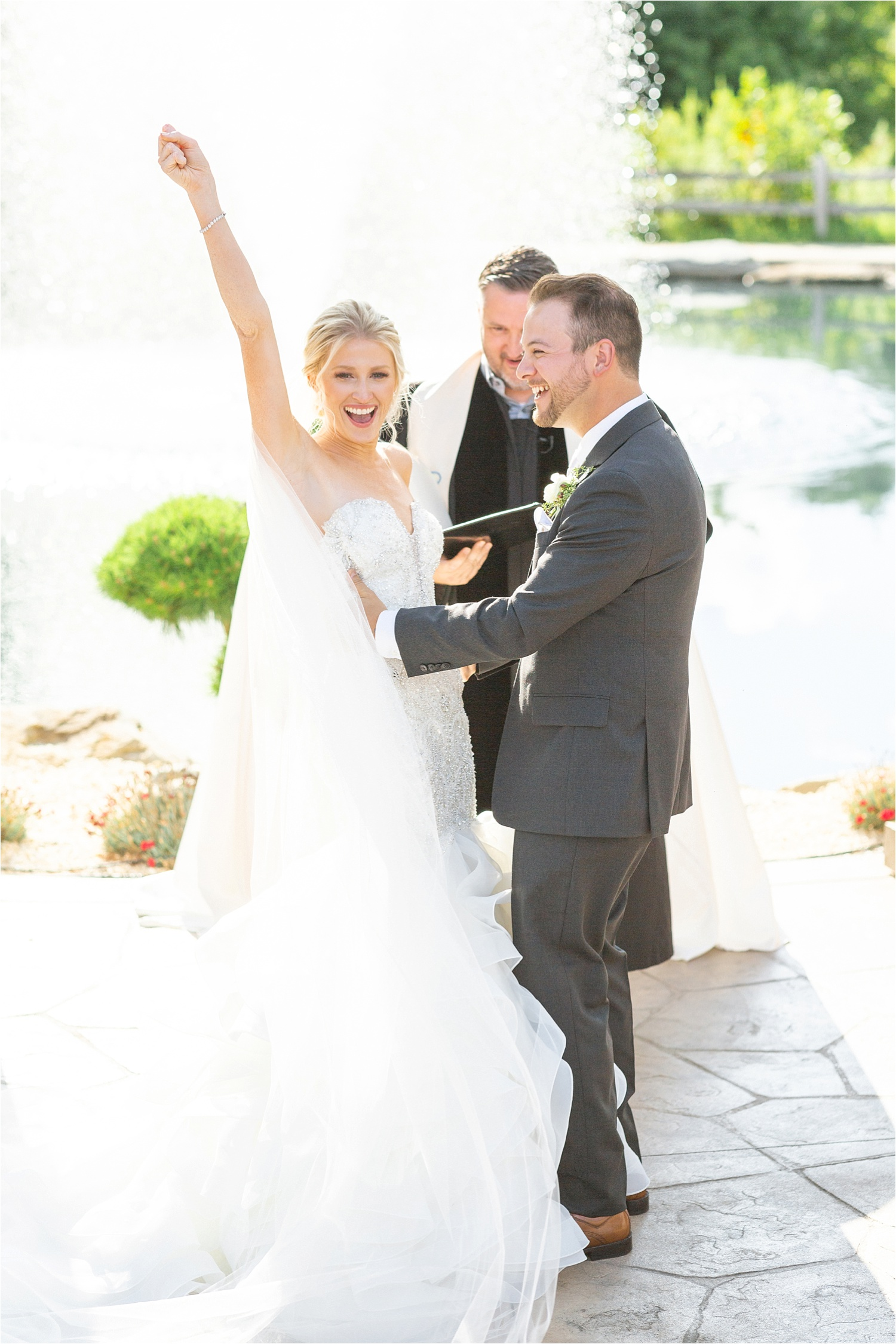 gorgeous sunny wedding ceremony just married celebration at blue heron brewery & event center
