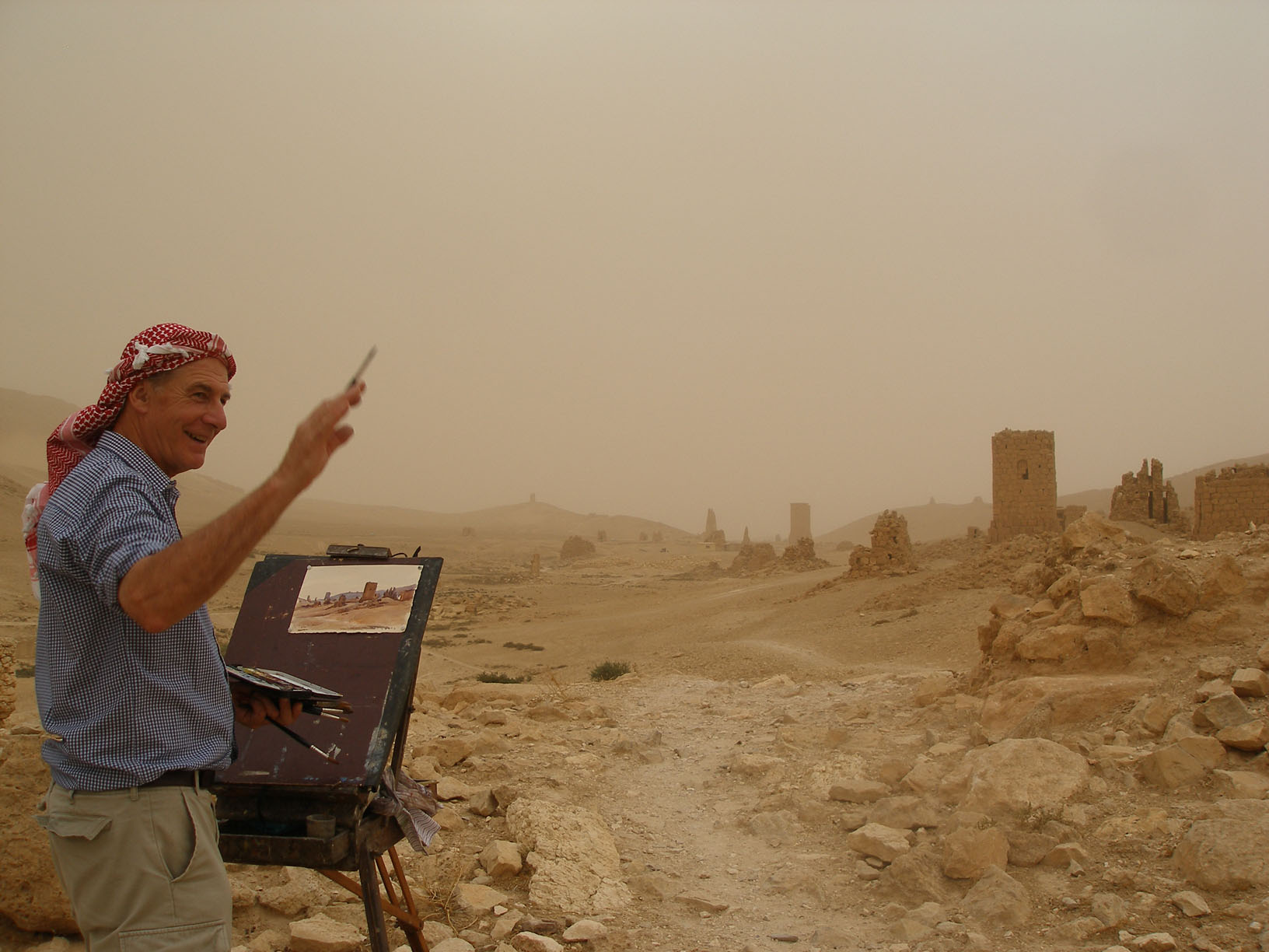 Approaching sandstorm, Towers of Silence, Palmyra, Syria. 2007