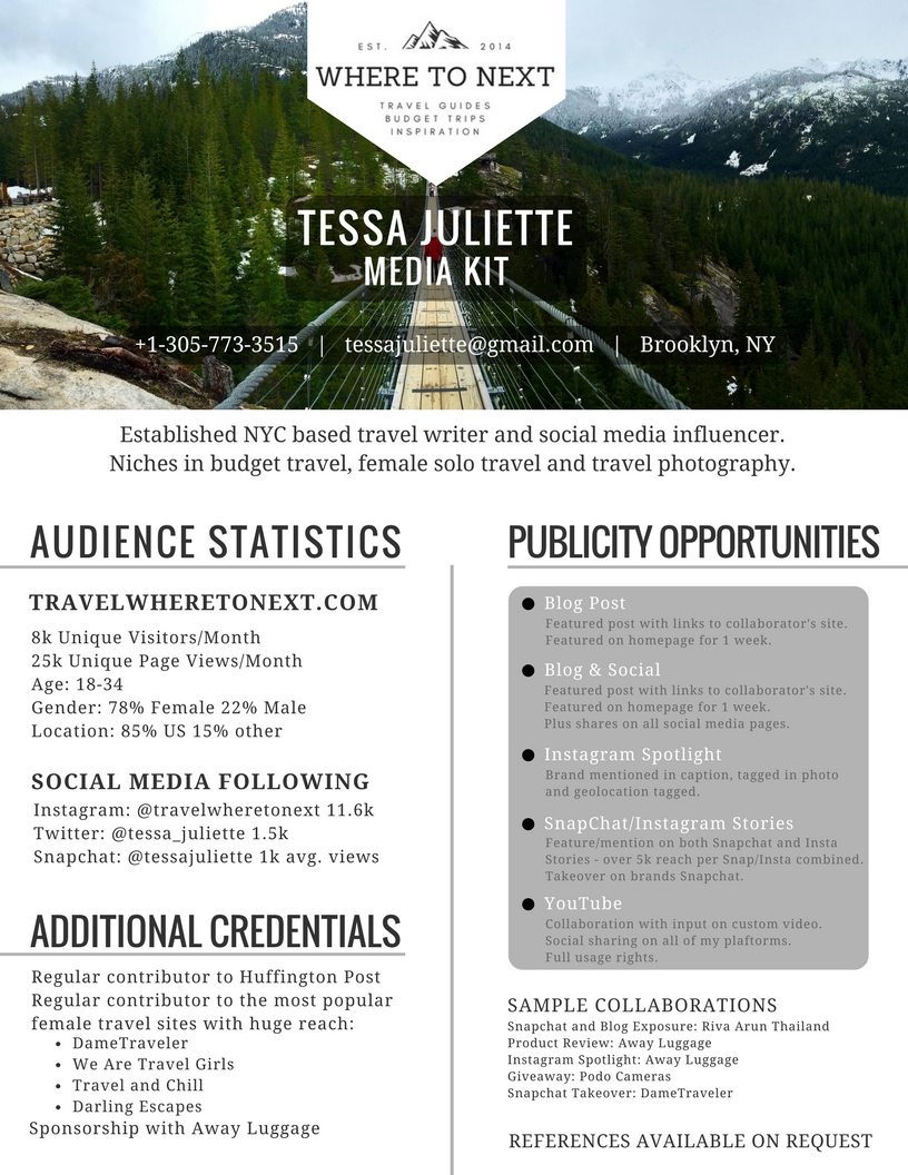 Media Kit for working with brands - Tessa Juliette - Travel where to next