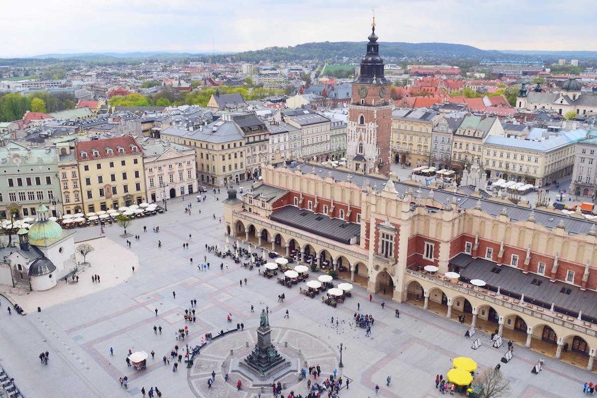 Medieval Square in Krakow Poland
