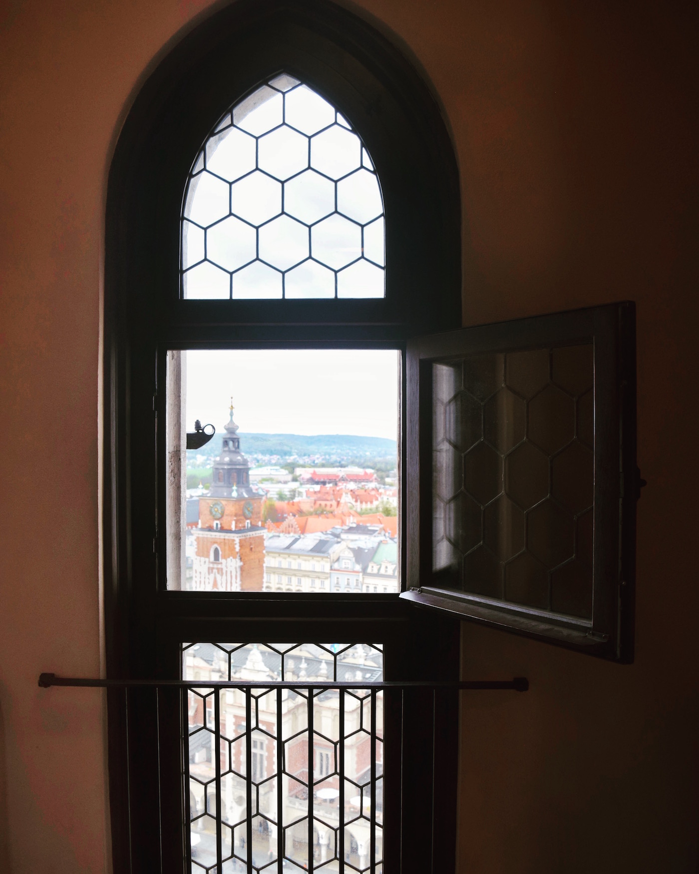 views from the top of St Marys Church in Krakow Poland