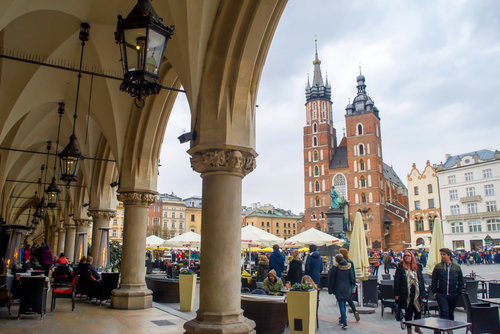 Medieval Square Krakow Poland