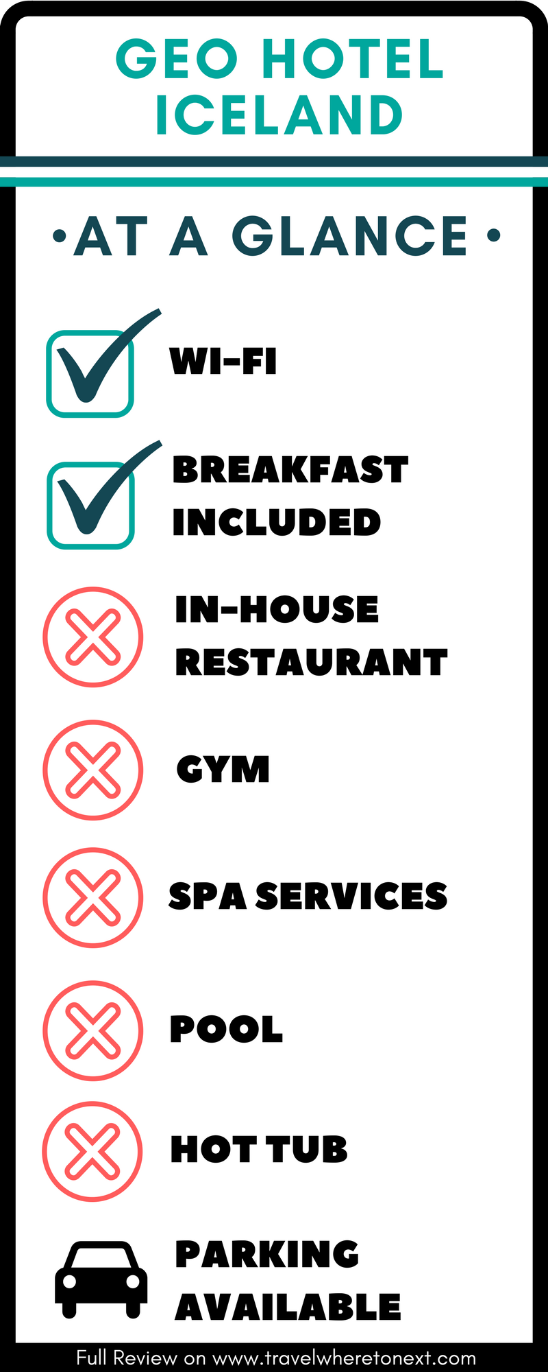 Quick glance of key features at Geo hotel Grindavik