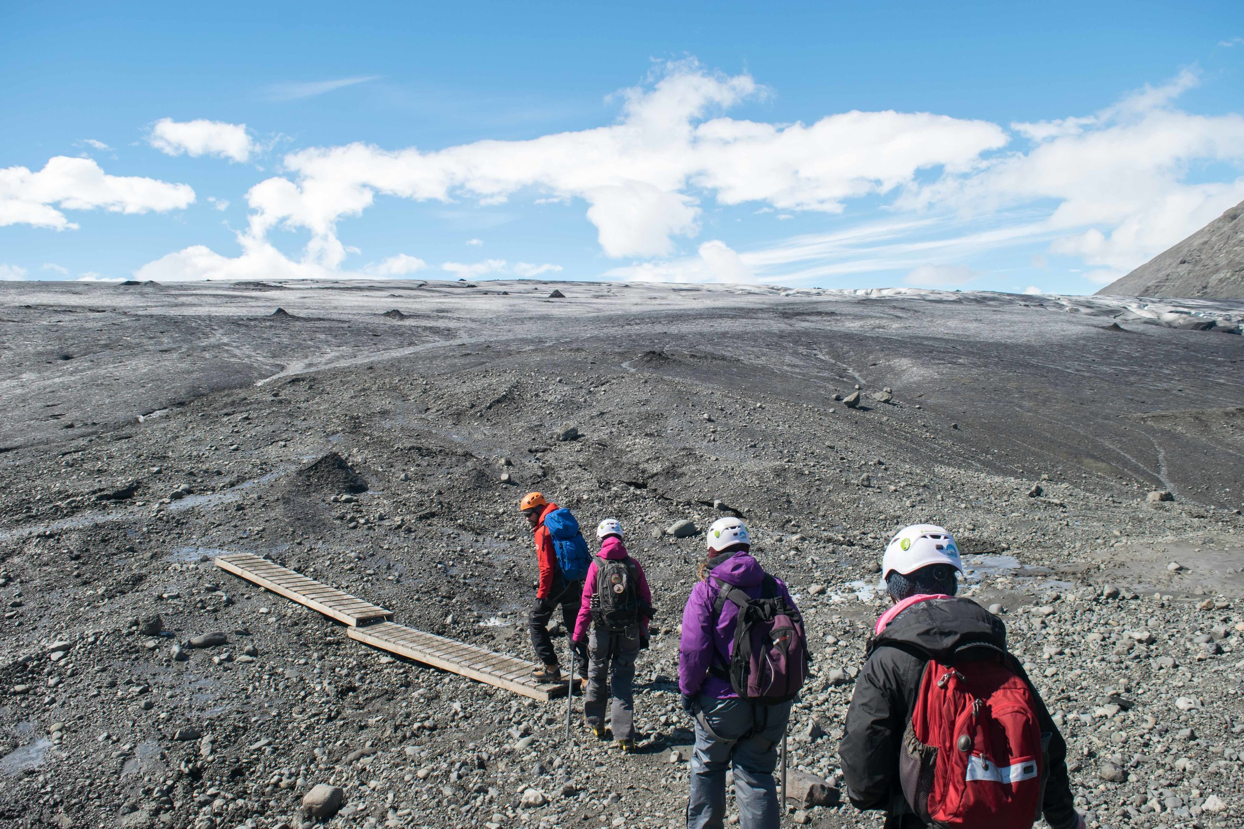 Starting the long walk to the glacier.