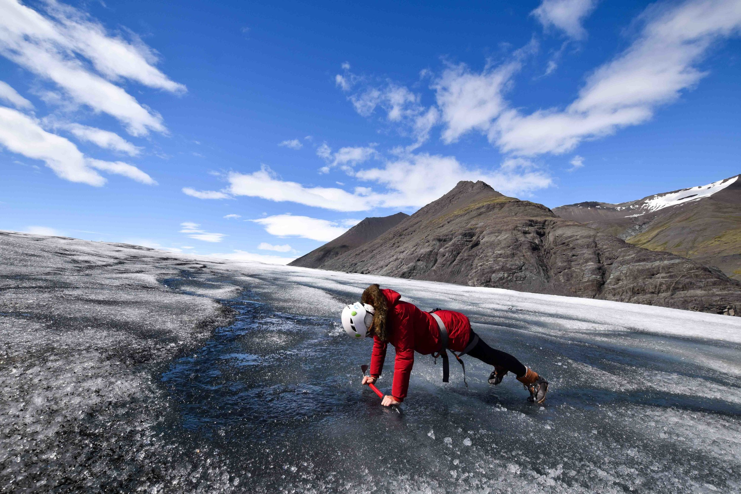 Drinking water on a glacier