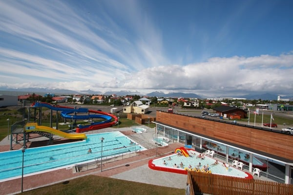 Seriously, this is a local swimming pool in Iceland.