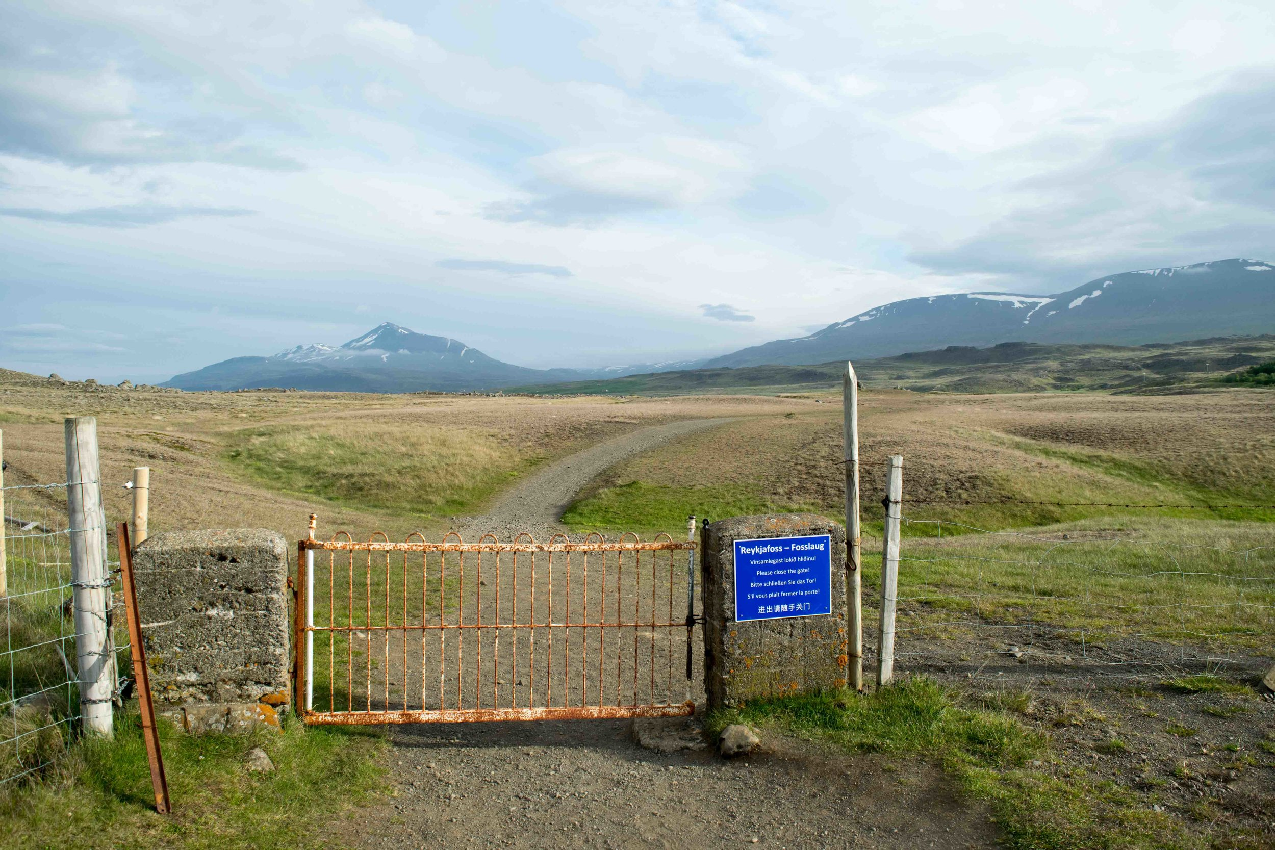 The beginning of the trail is marked by a gate. It is fine to go through, this is for the horses.