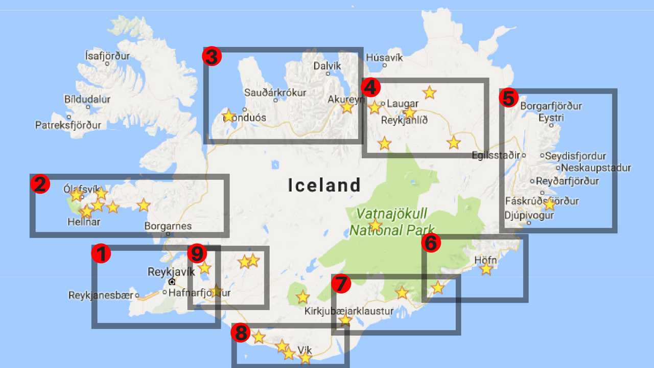 Map of Iceland to help you plan a trip.
