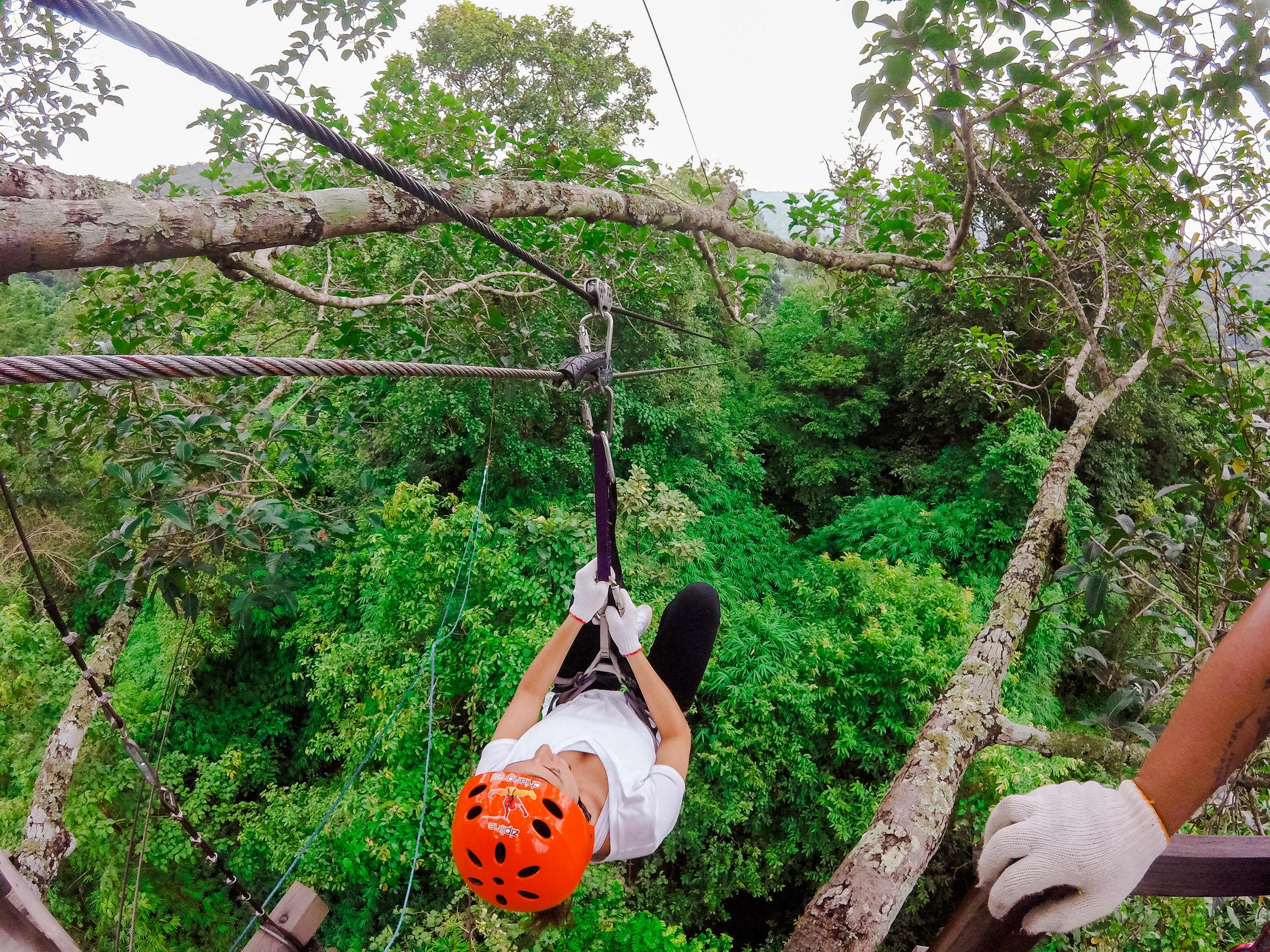 Ziplining in Thailand