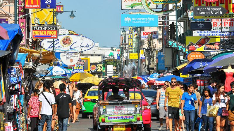Always busy and exciting Khao San Road in Thailand
