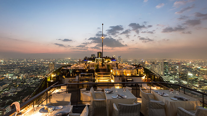 One of the best rooftop bars in Bangkok Thailand. You shouldn't miss Vertigo while visiting.