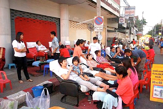 Getting a massage on the streets of Thailand is a must do