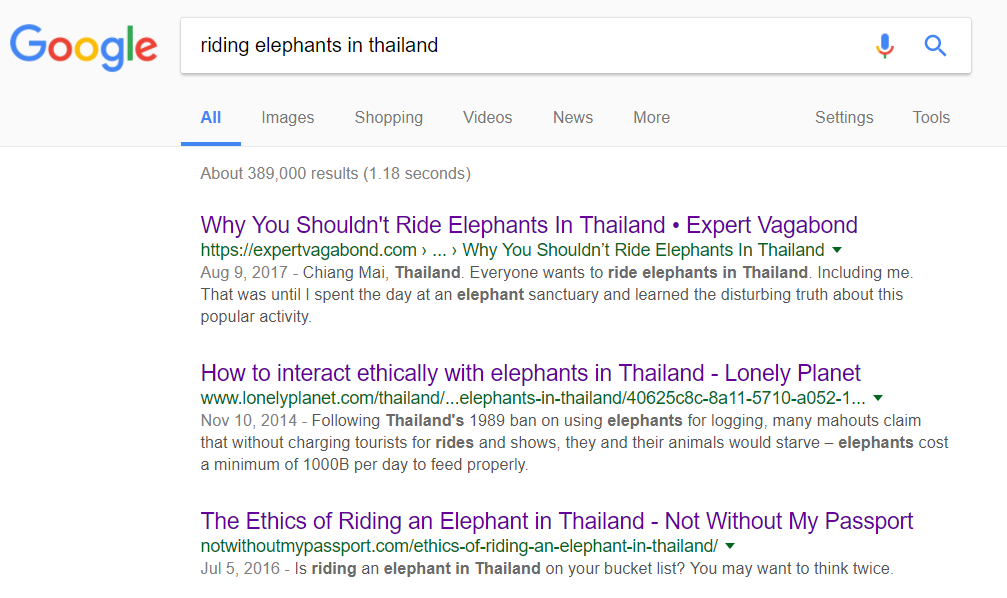 Search results for riding elephants in Thailand
