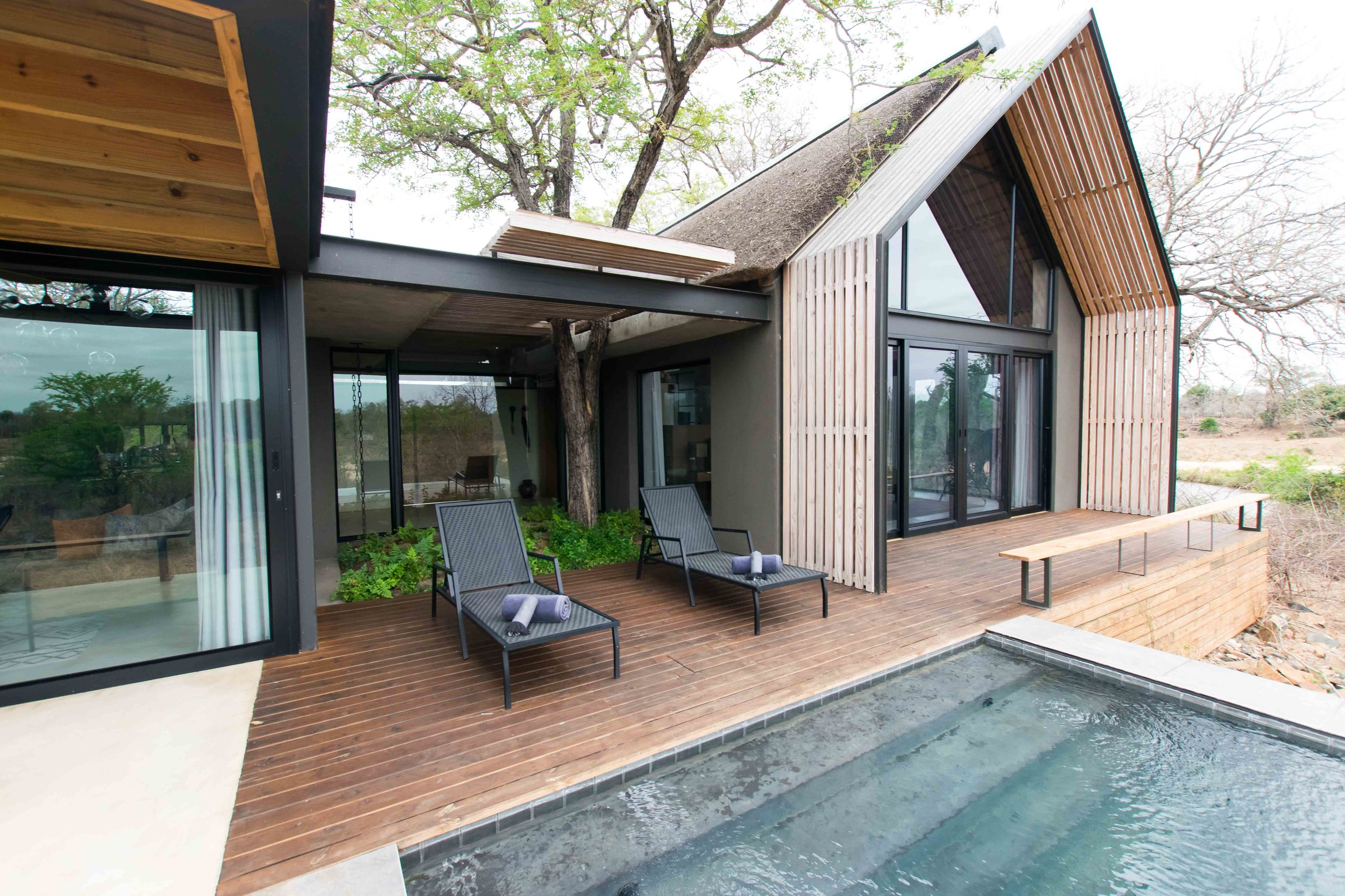 Private plunge pool and deck spaces at Lion Sands Ivory Lodge