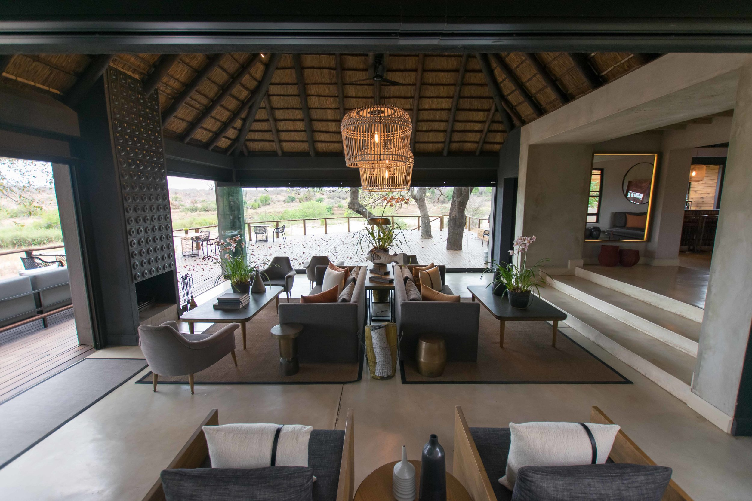 Spacious lounge in main lodge of Lion Sands Ivory Lodge