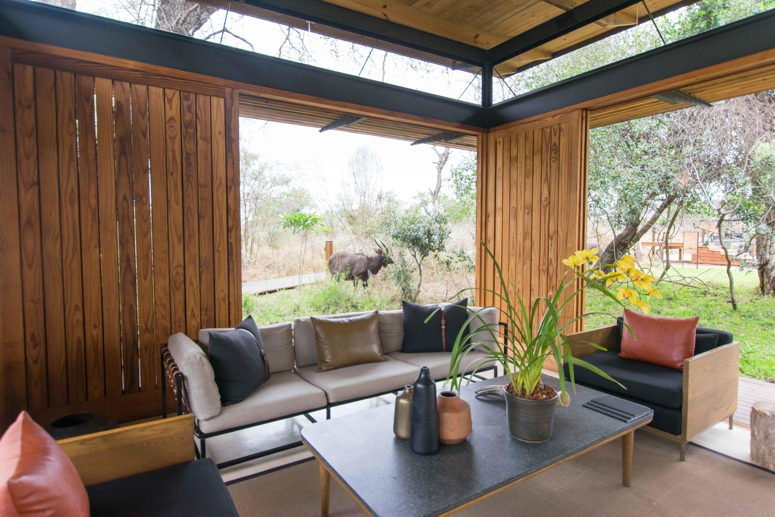 Reception area at Lion Sands Ivory Lodge